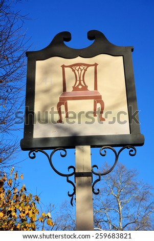 WILLIAMSBURG, VIRGINIA - NOVEMBER 19 2014: Exterior sign for the cabinetmaker, one of the many craftsman's workshops for period trades along the historic Duke of Gloucester Street - stock photo