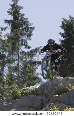 "WILLINGEN, GER - JUNE 13, Mahtias Schell (GER) #146, racing at ""world downhill competition"", amateur class , Willingen, Germany, June 13, 2009"