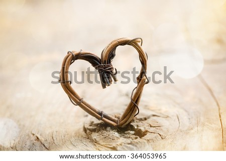 Willow heart with bokeh background - stock photo