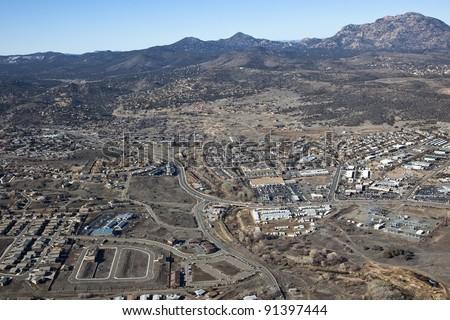 Willow Lake area from above in Prescott, Arizona - stock photo