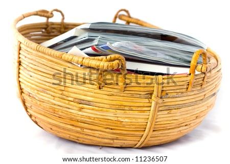 Willow shoot basket filled with magazines