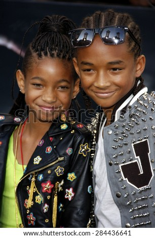 Willow Smith and Jaden Smith at the Los Angeles premiere of 'The Twilight Saga: Eclipse' held at the Nokia Theatre L.A. Live in Los Angeles on June 24, 2010.  - stock photo