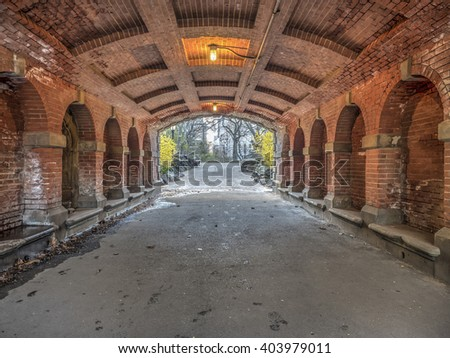 Willowdell Arch and Tunnel in Central Park, NYC - stock photo