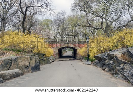 Willowdell Arch in early spring in Central Park New York City - stock photo