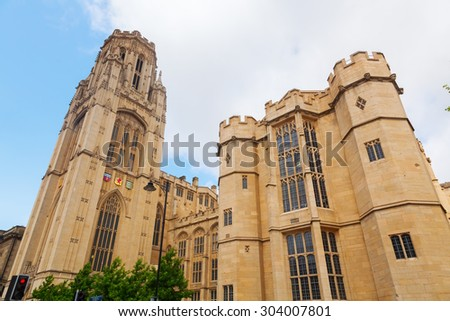 Wills Memorial Building in Bristol, England - stock photo