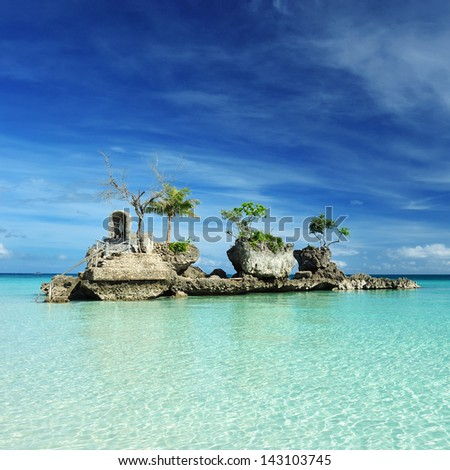 Willy's rock on a beach at Boracay, Philippines - stock photo