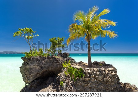 Willy's rock on island Boracay, Philippines. Boat Station One, White beach place. - stock photo