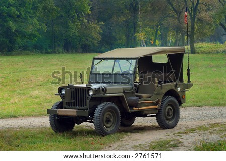 Willys - old fighting jeep - stock photo