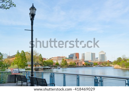 Wilmington Delaware skyline and waterfront along the Christiana River - stock photo