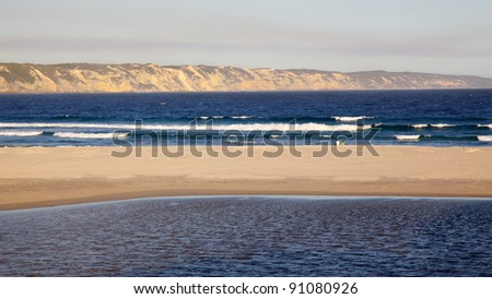 Wilson Inlet and Ocean Beach at the town of Denmark in Western Australia. - stock photo