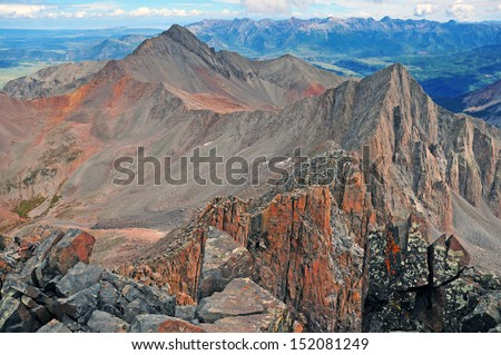 Wilson Peak as viewed from Mount Wilson Summit, Rocky Mountains, Colorado - stock photo