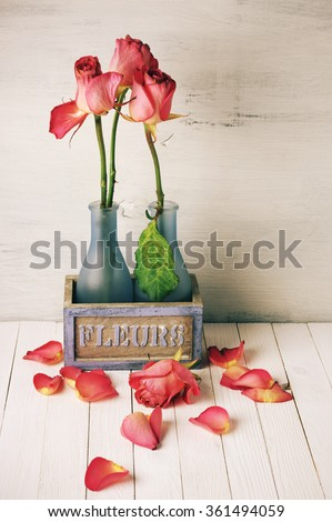 Wilted roses in rustic vase and fallen petals on wooden background. Vintage stylized, filtered image. - stock photo