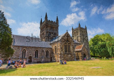 Wimborne Minster church Dorset England Uk illustration like oil painting  - stock photo