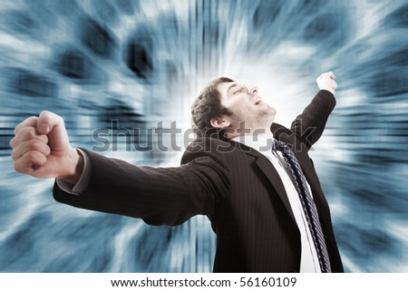 Win and success concept in business - victorious businessman - stock photo