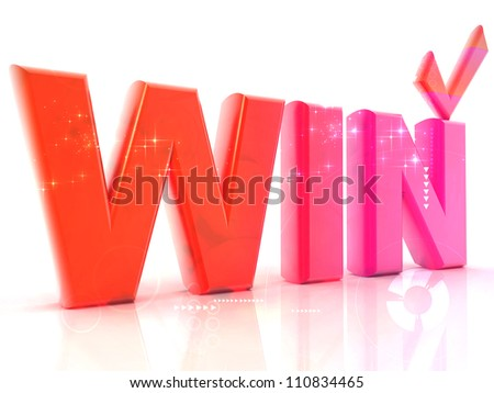 Win 3d render illustration - stock photo