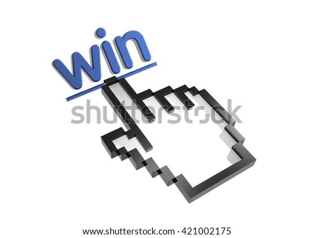 win. 3d rendered inscription. Link and finger, pointer. Isolated on white - stock photo