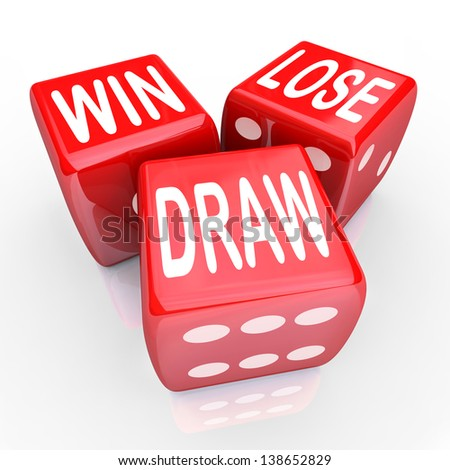 Win, Lose and Draw words on three red dice rolling in a game or competition to illustrate uncertainty, randomness and being evenly matched
