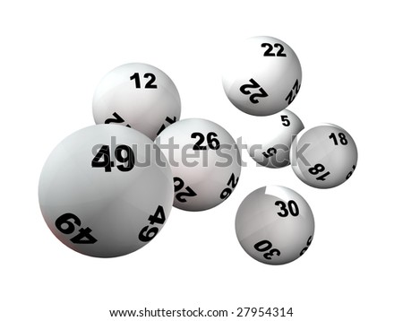 Win numbers and lottery balls - stock photo