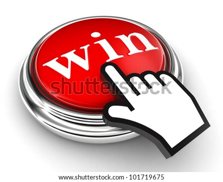win red button and cursor hand on white background. clipping paths included - stock photo