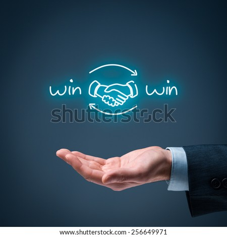 Win-win partnership strategy concept. Businessman offer win-win scheme with handshake partnership agreement.  - stock photo