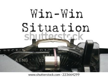 Win-win situation on typewriter - stock photo