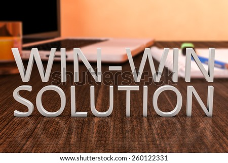Win-Win Solution - letters on wooden desk with laptop computer and a notebook. 3d render illustration. - stock photo
