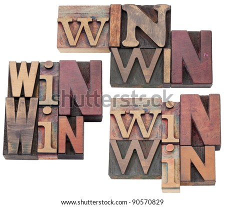 win-win strategy, negotiation or conflict resolution concept - isolated text  in vintage wood letterpress type blocks, stained by color ink, 3 layouts - stock photo