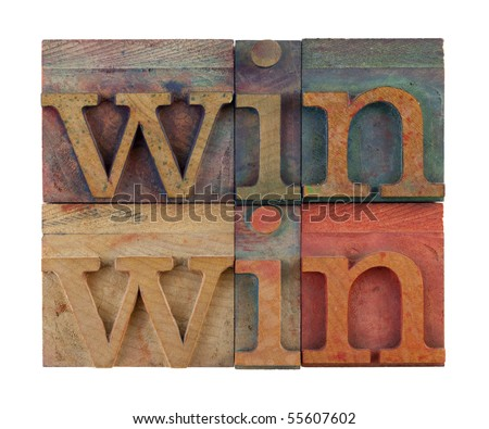 win win strategy or conflict resolution concept - vintage wooden letterpress type blocks, stained by color ink, isolated on white, square composition - stock photo