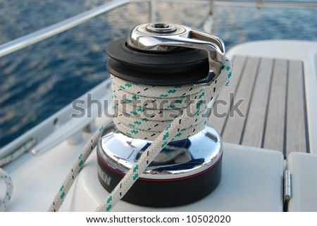 Winch on sailboat.