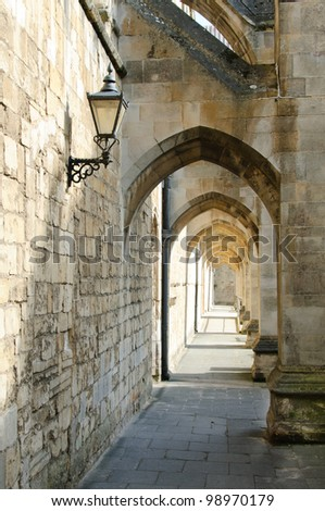 Winchester cathedral passageway - stock photo