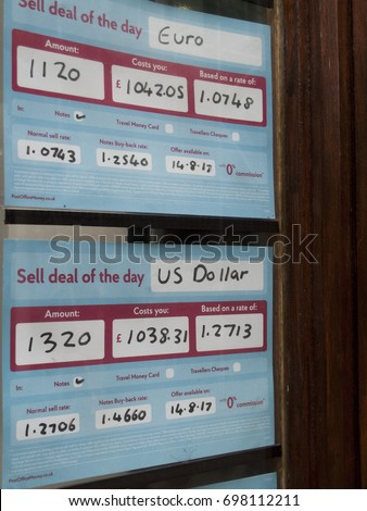Winchester Hampshire England August   United Kingdom Sterling Currency Exchange