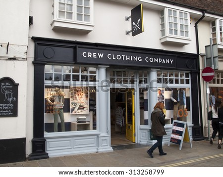 Winchester Market Street, Hampshire, England - September 4, 2015: Crew Clothing Company, UK based clothing retailer that specialises in luxury British casual wear for men and women - stock photo