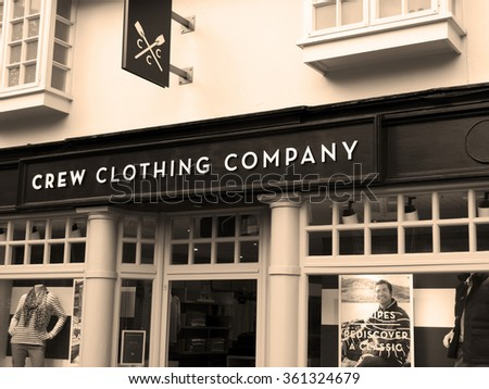 Winchester Market Street, Hampshire, England - September 4, 2015: Crew Clothing Company, UK based clothing retailer that specialises in luxury British casual wear for men and women