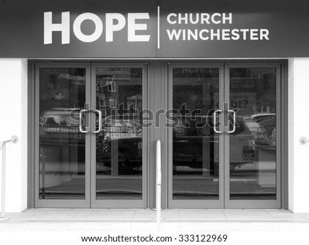 Winchester, Middle Brook Street, Hampshire, England - September 4, 2015: Church of England Hope church entrance located in a former Art Deco cinema