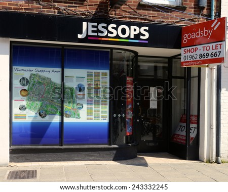WINCHESTER, UNITED KINGDOM - MAY 26, 2013: The Winchester branch of Jessops, which closed when The Jessop Group Limited went into administration in January 2013. - stock photo