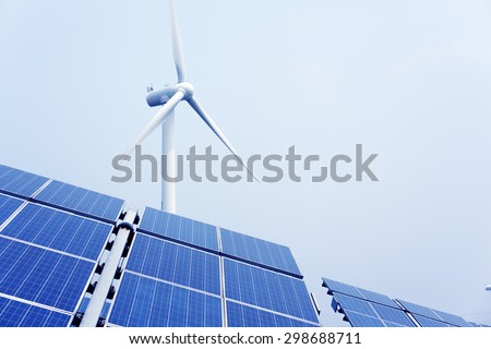 Wind and solar energy - stock photo
