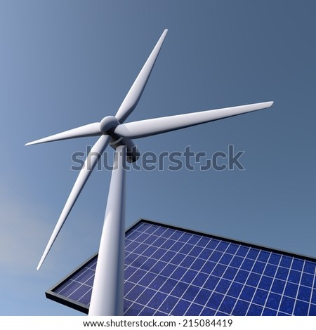 Wind and solar energy, a sunny day, clear blue skies - stock photo