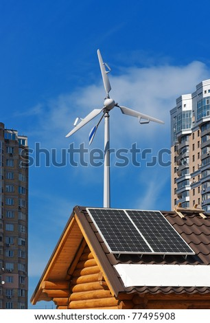 Wind and solar energy concept - stock photo