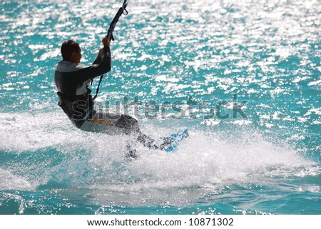 wind and waves: was a great place to kite and surf - stock photo
