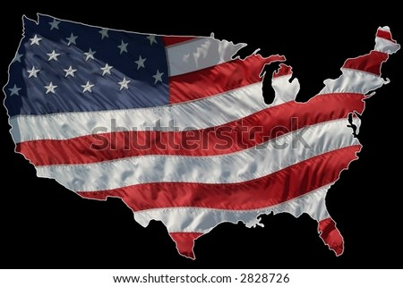 Wind blown flag of America in the shape of a map. Lightly outlined in white for easy separation.