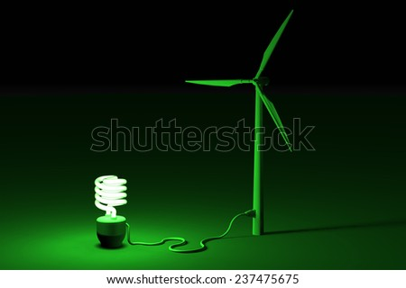 Wind energi concept - energy saving bulb connected to a wind mill - stock photo