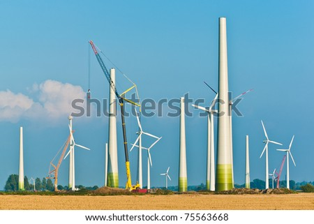 Wind energy construction site - stock photo
