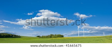 Wind energy for clean environment - stock photo