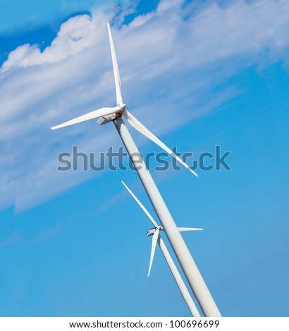 Wind energy generator with blue sky