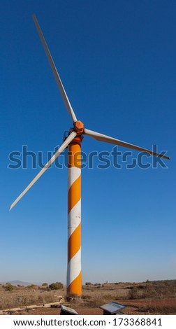 Wind Energy. Israeli wind turbine farm on Syrian border. Golan Heights. - stock photo