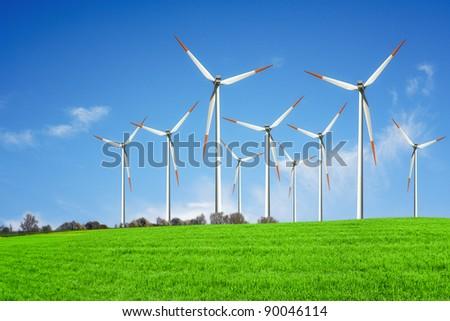 Wind energy plant - stock photo