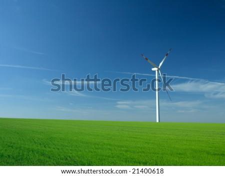 wind energy turbine power station - stock photo
