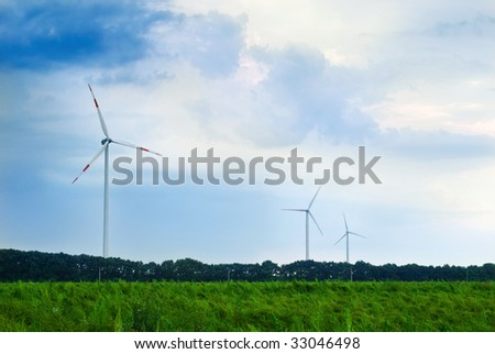 wind engines on an open field