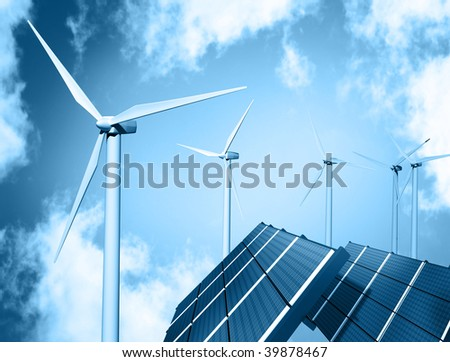 Wind farm and solar panel - stock photo