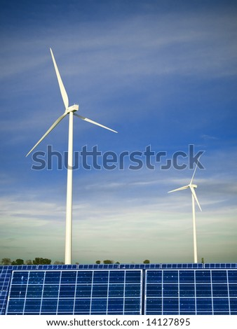 Wind farm and solar panels - stock photo